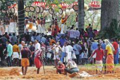 Preparations of fireworks in the backdrop of Cherupoorams