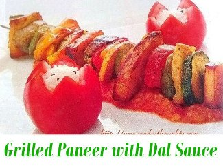 Grilled Paneer With Dal Sauce